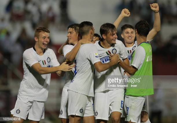 Internazionale players celebrate after winning the Mamma Cairo Trophy at the end of the Trofeo Mamma Cairo match between FC Internazionale U19 and AC...
