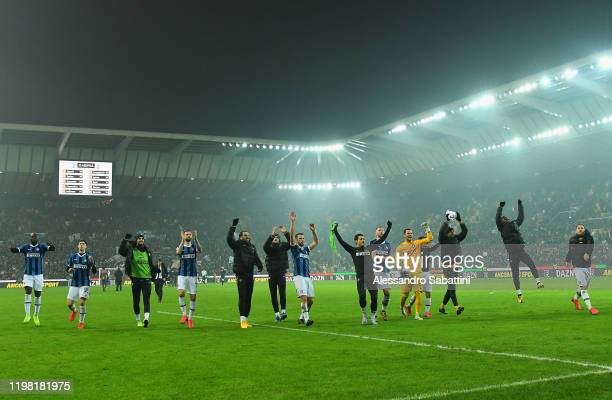 Internazionale players celebrate the victory after the Serie A match between Udinese Calcio and FC Internazionale at Stadio Friuli on February 2,...