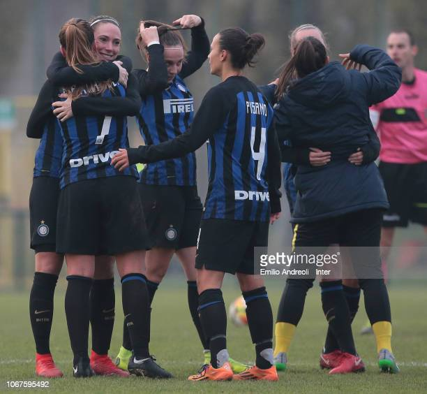 Internazionale players celebrate the victory at the end of the Serie B match between FC Internazionale and Milan Ladies on December 2 2018 in Milan...