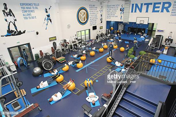 Internazionale players train in the gym during the FC Internazionale training session at the club's training ground 'La Pinetina' on December 14 2016...