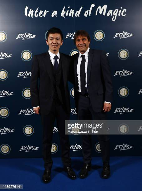 Internazionale president Steven Zhang and FC Internazionale coach Antonio Conte during FC Internazionale Xmas Dinner on December 17, 2019 in Milan,...