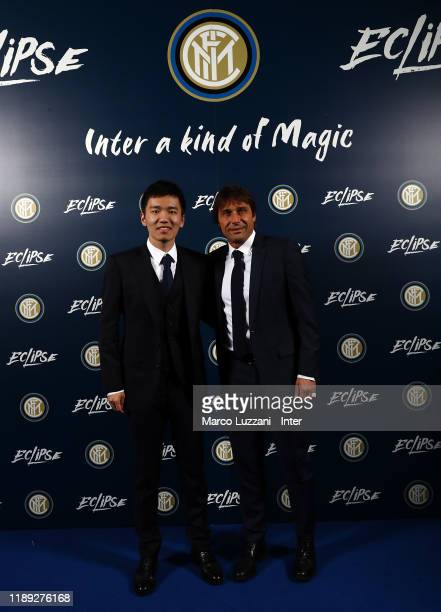 Internazionale president Steven Zhang and FC Internazionale coach Antonio Conte during FC Internazionale Xmas Dinner on December 17 2019 in Milan...