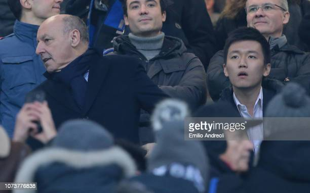 Internazionale president Steven Zhang and new CEO of FC Internazionale Giuseppe Marotta attend the Serie A match between FC Internazionale and...