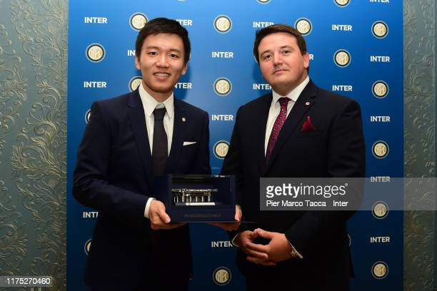 Internazionale President Steven Zhang and Slavia Praha Vice Chairman Tomáš Syrovátka pose for a picture during the Delegations Lunch ahead UEFA...