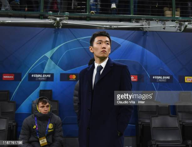 Internazionale President Steven Zhang attends during the UEFA Champions League group F match between Inter and FC Barcelona at Giuseppe Meazza...