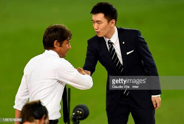Internazionale President Steven Zhang congratulates Antonio Conte head coach of FC Internazionale during the UEFA Europa League Final between Seville...