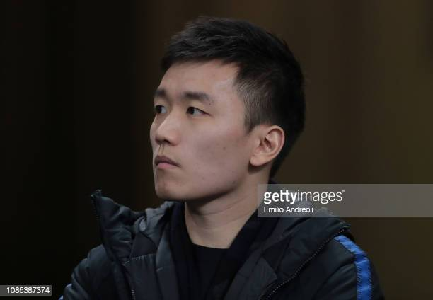 Internazionale president Steven Zhang looks on during the Serie A match between FC Internazionale and US Sassuolo at Stadio Giuseppe Meazza on...