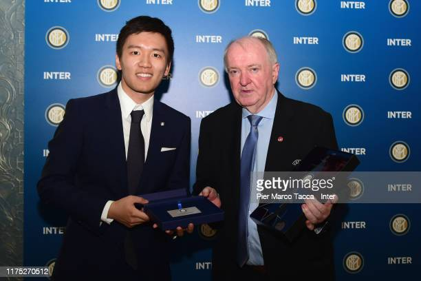 Internazionale President Steven Zhang poses with UEFA member during the Delegations Lunch ahead UEFA Champions League match between FC Internazionale...