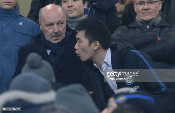 Internazionale president Steven Zhang speaks with new CEO of FC Internazionale Giuseppe Marotta prior to the Serie A match between FC Internazionale...