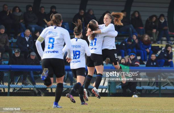 Internazionale team celebrate after scoring the goal during the Women Serie B match between FC Internazionale Women and Empoli at Suning Youth...