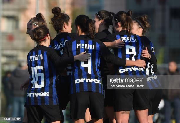 INternazionale team celebrate goal during the match between FC Internazionale Women v Castelvecchio Women Serie B on November 18 2018 in Sedriano...