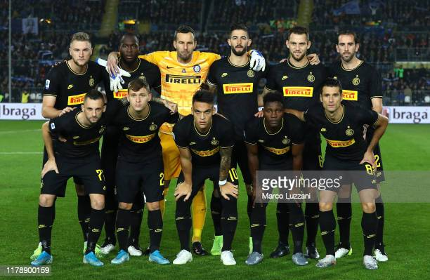 Internazionale team line up before the Serie A match between Brescia Calcio and FC Internazionale at Stadio Mario Rigamonti on October 29 2019 in...
