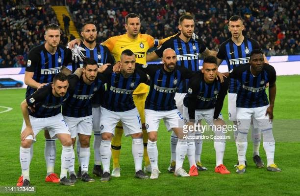 Internazionale team line up during the Serie A match between Udinese and FC Internazionale at Stadio Friuli on May 4 2019 in Udine Italy