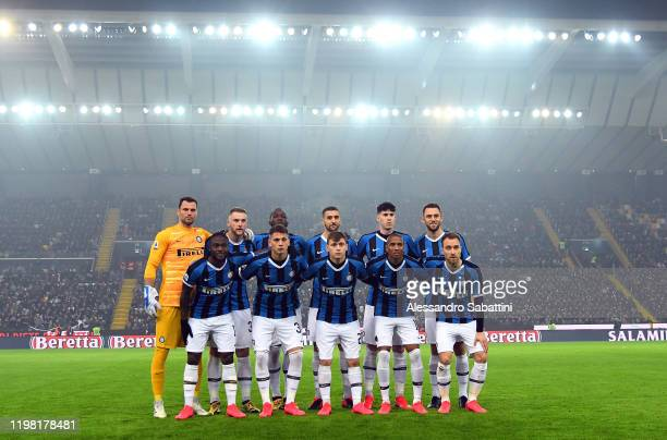 Internazionale team line up during the Serie A match between Udinese Calcio and FC Internazionale at Stadio Friuli on February 2 2020 in Udine Italy