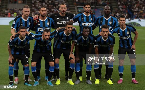 Internazionale team line up prior to the Serie A match between FC Internazionale and US Lecce at Stadio Giuseppe Meazza on August 26 2019 in Milan...