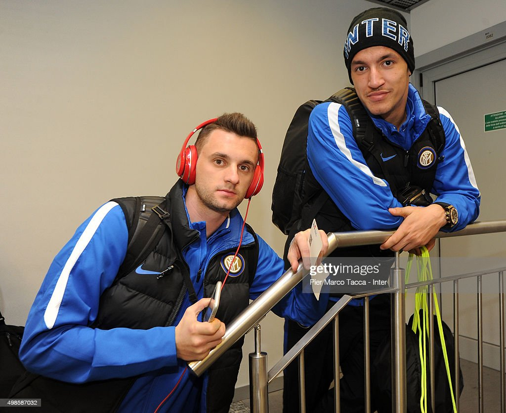 FC Internazionale team players (L-R) Marcelo Brozovic and Rei Manaj seen boarding at the Malpensa airport before the friendly tournament between FC Internazionale, AC Milan and AS Bari on November 24, 2015 in Milan, Italy.