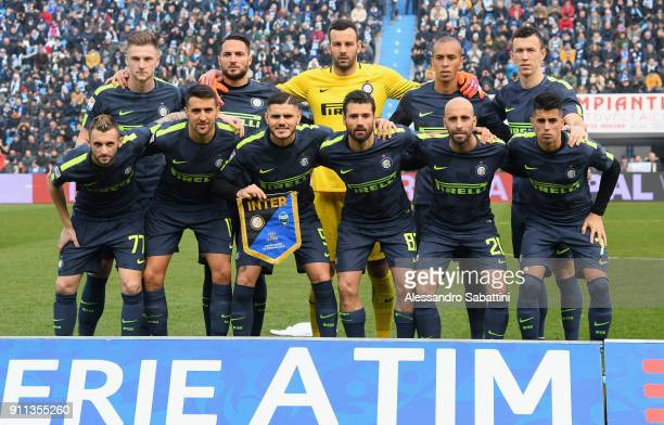 Internazionale team pose prior the serie A match between Spal and FC Internazionale at Stadio Paolo Mazza on January 28 2018 in Ferrara Italy