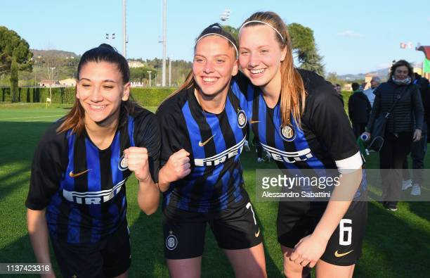 Internazionale U19 Women players celebrate the victory after the Serie A Primavera Final Four first place match between FC Internazionale U19 Women...