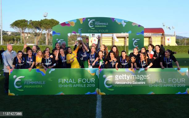 Internazionale U19 Women players celebrate the victory with tha trophy after the Serie A Primavera Final Four first place match between FC...