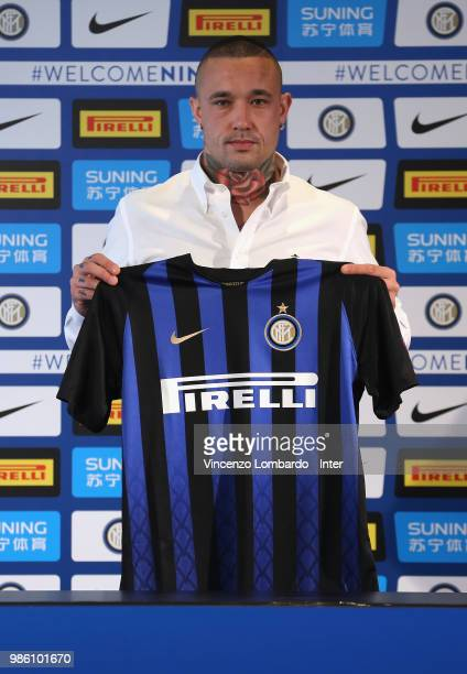 Internazionale unveils new signing Radja Nainggolan attends press conference on June 28 2018 in Milan Italy