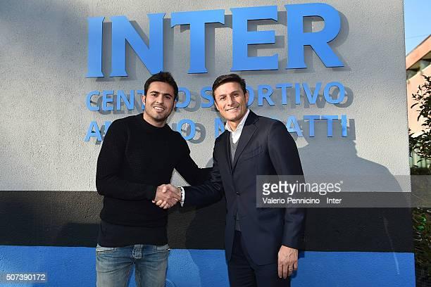 Internazionale Vice President Javier Zanetti and Citadin Martins Eder of FC Internazionale Milano prior to the FC Internazionale training session at...