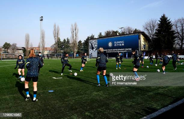 Internazionale warms up before the Women Serie A match between FC Internazionale and Juventus at Suning Youth Development Centre in memory of...