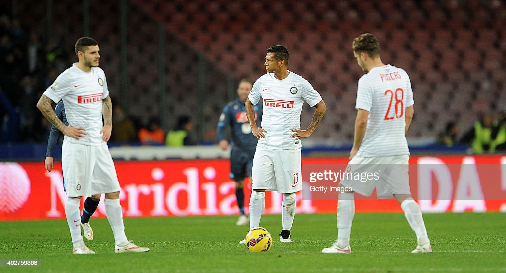 Internazionale's player Mauro Icardi and Fredy Guarin and George Puscas stands disappointed during the TIM CUP match between SSC Napoli and FC Internazionale at the San Paolo Stadium on February 4, 2015 in Naples, Italy.