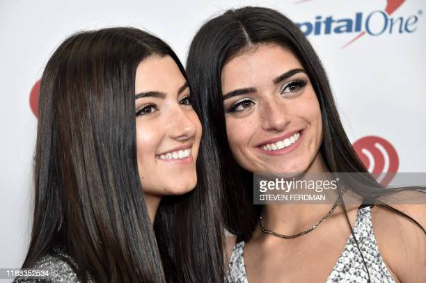 US internet celebrities Charli D'Amelio and Dixie D'Amelio arrive for the Z100's iHeartRadio Jingle Ball 2019 at Madison Square Garden in New York on...