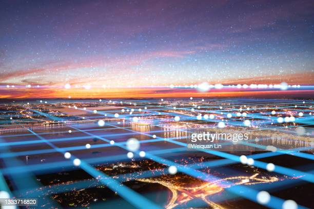 5g internet communication and modern city - generic description stock pictures, royalty-free photos & images