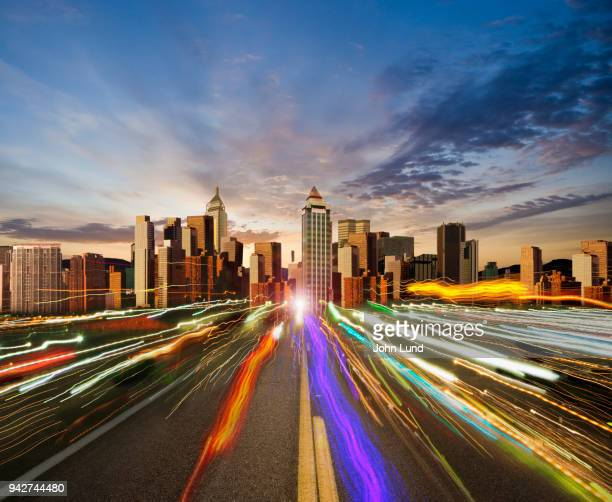 internet connected metropolis - john lund stock pictures, royalty-free photos & images