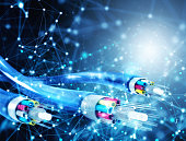 Internet connection with optical fiber. Concept of fast internet