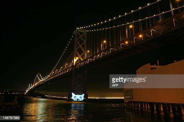 Internet Defense League projects a cat signal on the Bay Bridge in San Francisco to highlight the campaign against Stop Online Piracy Act and Protect...