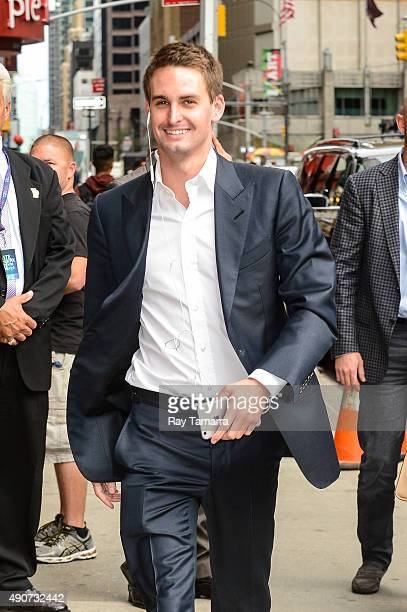 Internet entrepreneur Evan Spiegel enters the 'The Late Show With Stephen Colbert' taping at the Ed Sullivan Theater on September 30 2015 in New York...