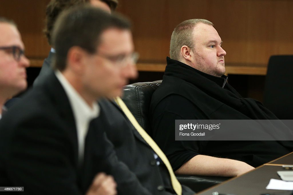 Internet entrepreneur Kim Dotcom in court after his hearing was moved from the North Shore District Court on September 21, 2015 in Auckland, New Zealand. The extradition hearing follows charges laid by the FBI in 2012 for criminal copyright violation.