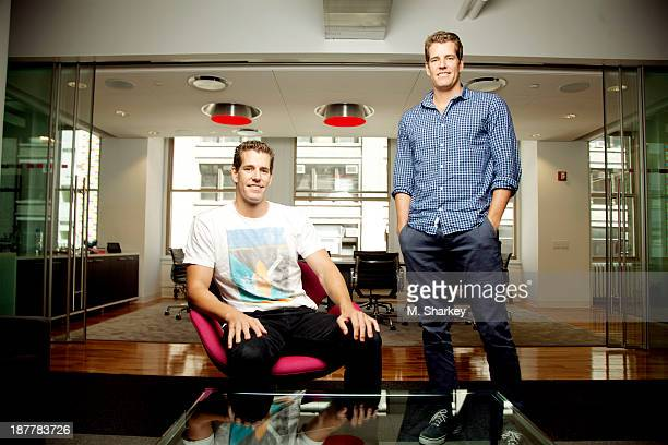 Internet entrepreneurs Cameron Winklevoss and Tyler Winklevoss are photographed for Bloomberg Markets Magazine on August 14 2013 in New York City