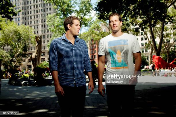 Internet entrepreneurs Cameron Winklevoss and Tyler Winklevoss are photographed for Bloomberg Markets Magazine on August 14, 2013 in New York City.