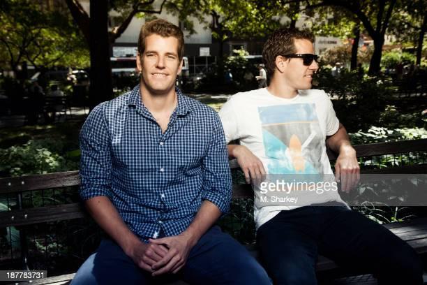 Internet entrepreneurs Cameron Winklevoss and Tyler Winklevoss are photographed for Bloomberg Markets Magazine on August 14 2013 in New York City...