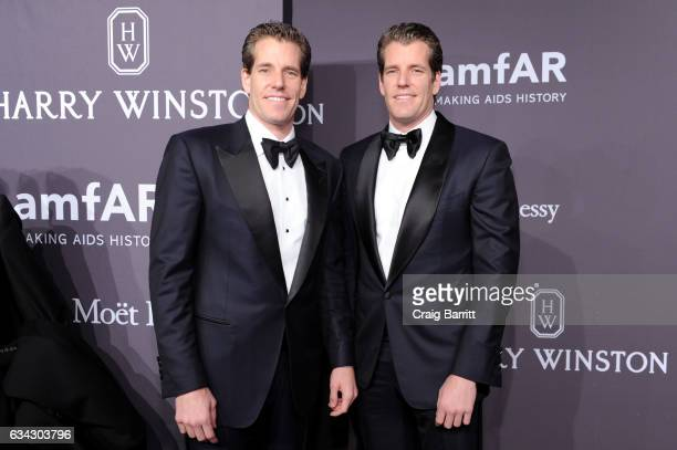 Internet Entrepreneurs Cameron Winklevoss and Tyler Winklevoss attends the amfAR New York Gala 2017 sponsored by FIJI Water at Cipriani Wall Street...