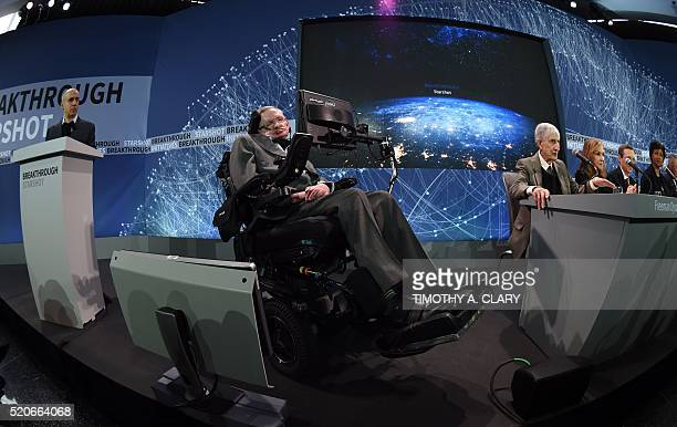 Internet investor and science philanthropist Yuri Milner and renowned cosmologist Professor Stephen Hawking hold a press conference at One World...