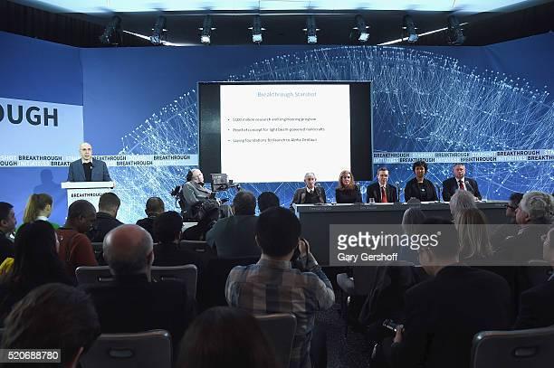 Internet investor and science philanthropist Yuri Milner cosmologist Stephen Hawking Breakthrough Starshot panel members Freeman Dyson Ann Druyan Avi...