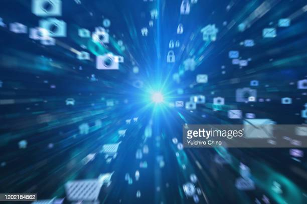 internet network and applications with high speed motion - social media icons stock pictures, royalty-free photos & images