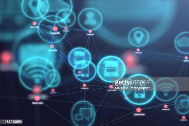 internet of things concept,social icon on 3d space,business and technology concept - wireless technology fotografías e imágenes de stock