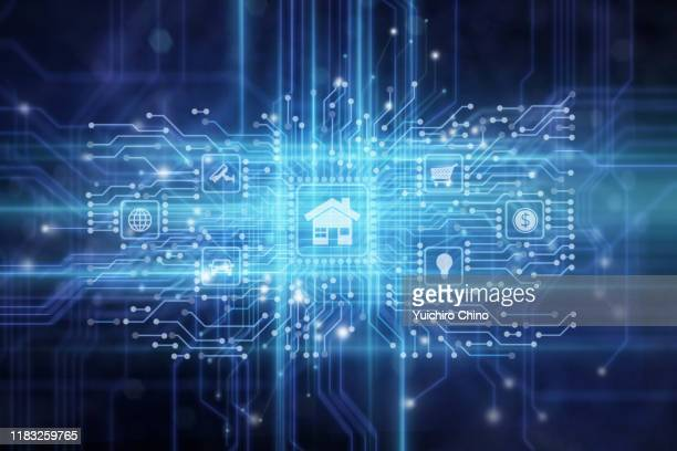 internet of things iot digital circuit panel - house icon stock pictures, royalty-free photos & images