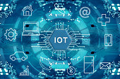 Internet of things, wireless communication network, abstract image visual.