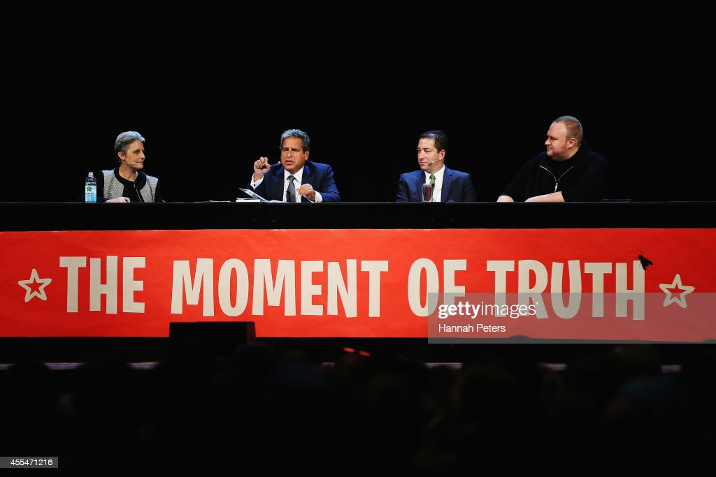 Internet Party leader Laila Harre, Robert Amsterdam, Glenn Greenwald and Kim Dotcom discuss the revelations about New Zealand's mass surveillance at Auckland Town Hall on September 15, 2014 in Auckland, New Zealand. The general election in New Zealand will be held this weekend, on 20 September 2014.
