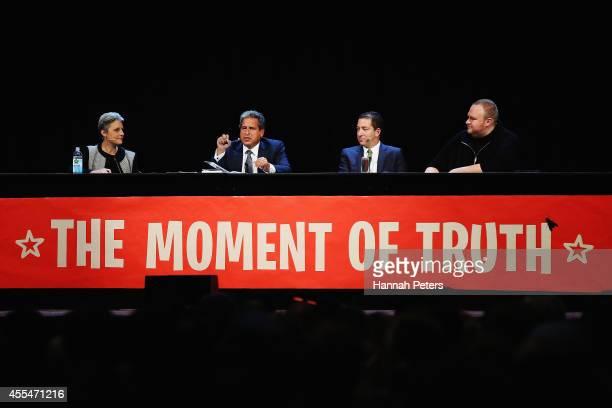 Internet Party leader Laila Harre Robert Amsterdam Glenn Greenwald and Kim Dotcom discuss the revelations about New Zealand's mass surveillance at...