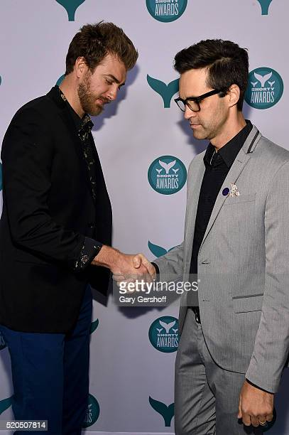 Internet personalities and presenters Rhett McLaughlin and Charles 'Link' Neal III attend The 8th Annual Shorty Awards at The Times Center on April...