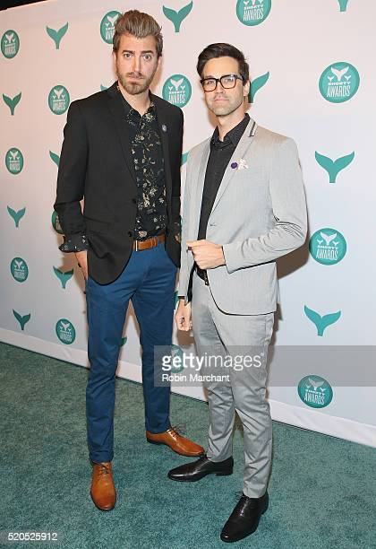 Internet personalities and presenters Rhett McLaughlin and Charles 'Link' Neal III attend 8th Annual Shorty Awards Red Carpet And Awards Ceremony at...