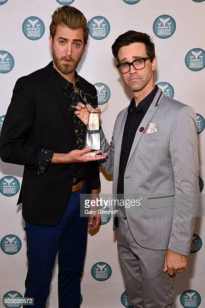 Internet personalities and presenters Rhett McLaughlin and Charles 'Link' Neal III pose backstage at The 8th Annual Shorty Awards at The Times Center...