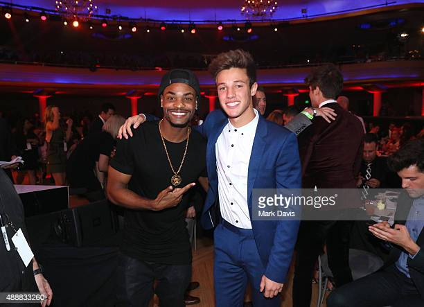 Internet personalities Andrew B Bachelor aka King Bach and Cameron Dallas attend VH1's 5th Annual Streamy Awards at the Hollywood Palladium on...
